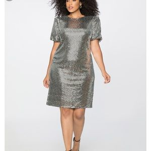 NWT ELOQUII 24W Puff Sleeve Sequin Dress